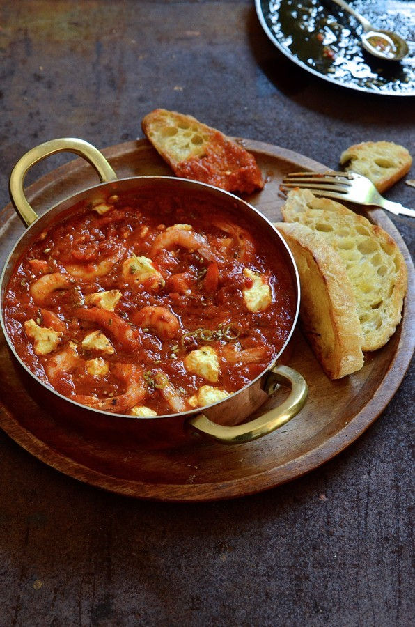 Prawn bake with feta and fennel-chilli butter