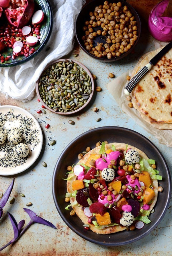 Butternut Flatbreads With Beets & Goats Cheese Truffles