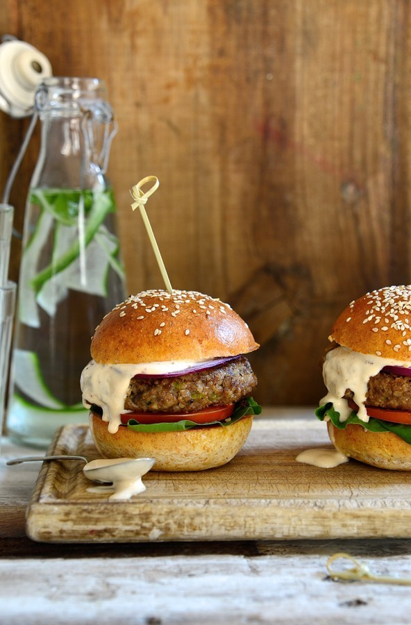 Healthy Beef burgers with mushrooms and chipotle mayo | Bibbyskitchen