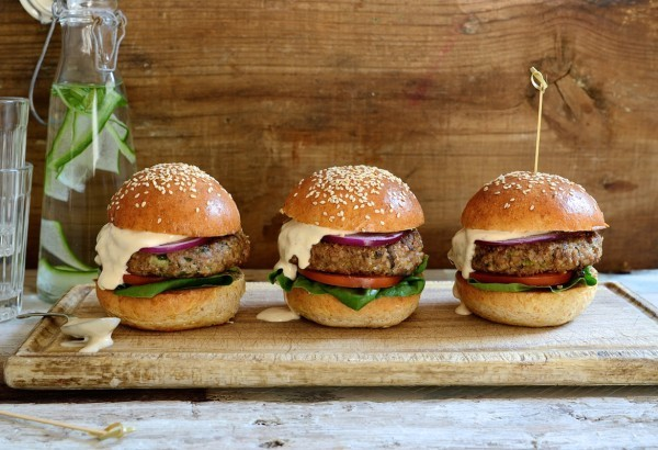 Healthy Beef burgers with mushrooms and chipotle mayo