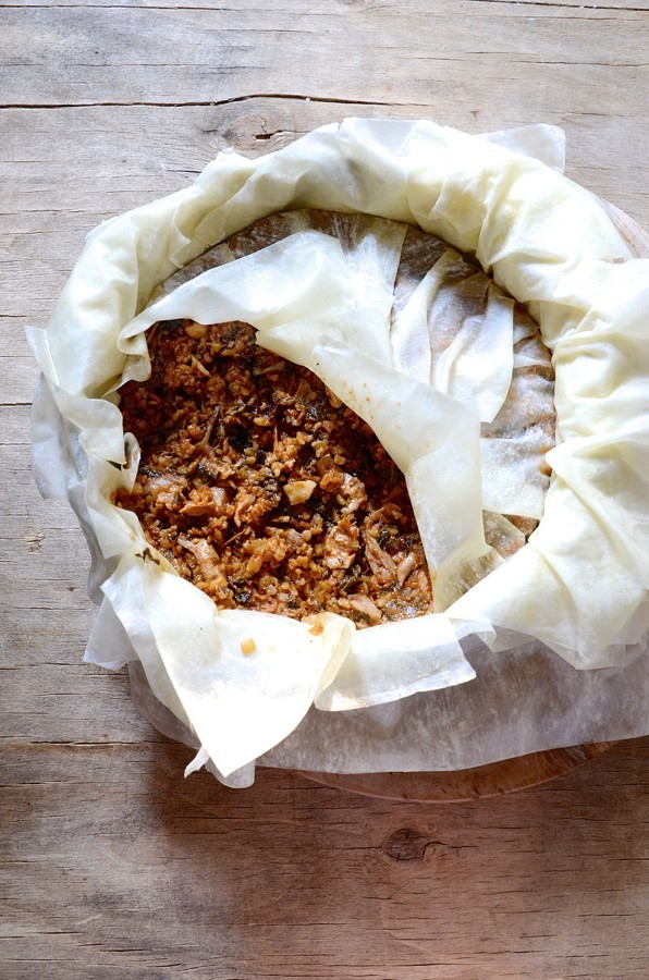 Chicken pastilla with freekeh and almonds