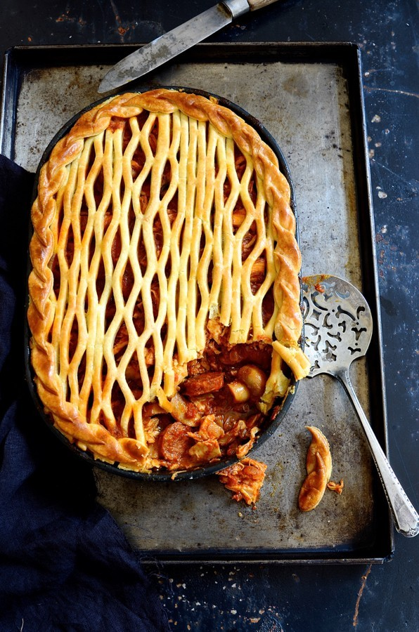 Spanish chicken pie with chorizo and peppers