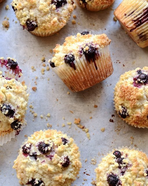 Blueberry coconut crumble muffins