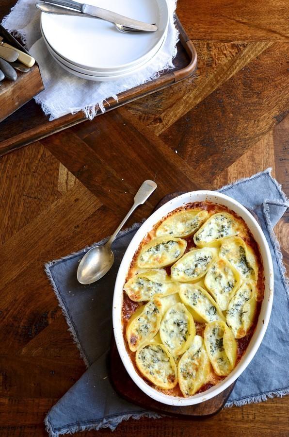 Artichoke, kale and ricotta conchiglioni