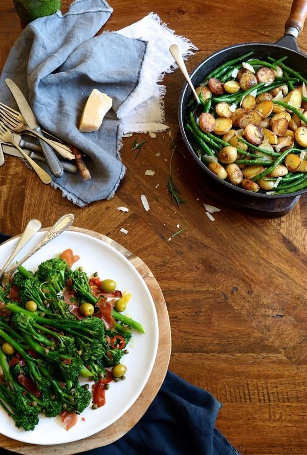 Pesto beans and rosemary potatoes