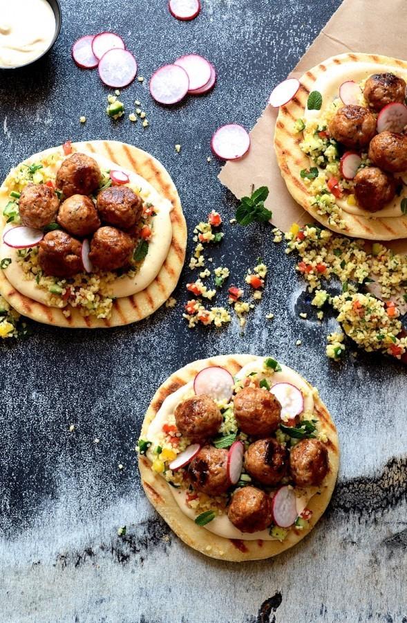 Pork meatball pitas with miso and tahini yoghurt | Bibbyskitchen recipes