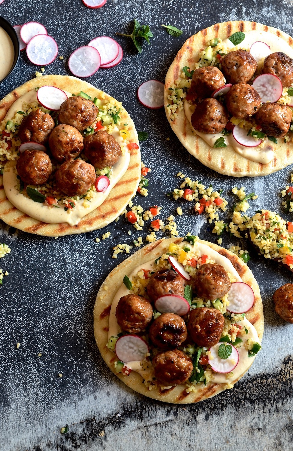 Pork meatball pitas with miso and tahini yoghurt | Bibbyskitchen recipes