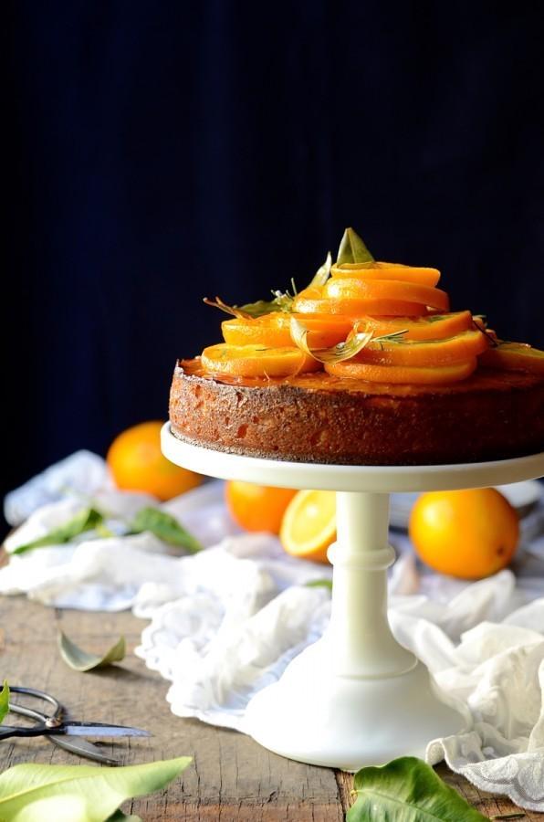 Semolina orange cake with rosemary syrup