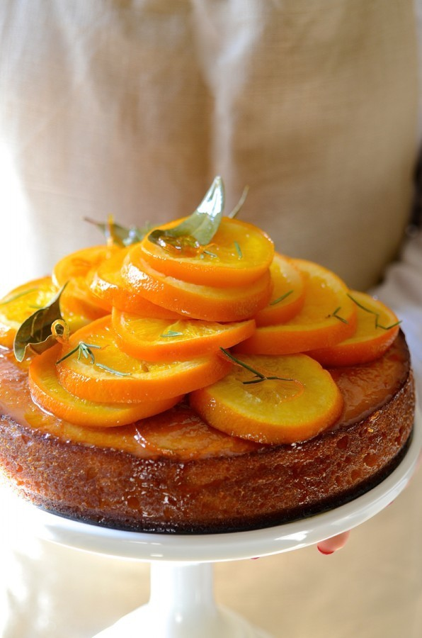 Semolina orange cake with rosemary syrup | Bibbyskitchen Cake Friday