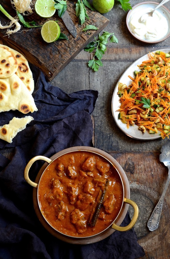 Lamb curry with mango atchar and cashew carrot salad