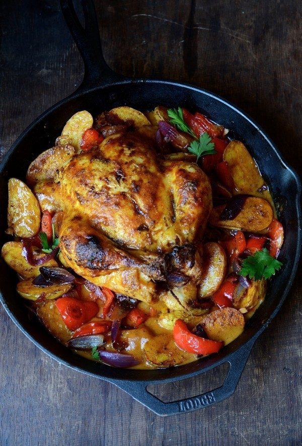 Massaman chicken curry with spicy roast potatoes