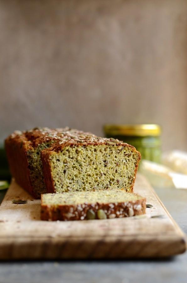 Gluten free zucchini and basil pesto seed bread|Banting recipes