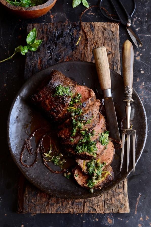 Smoky Joe's beef fillet with salsa verde