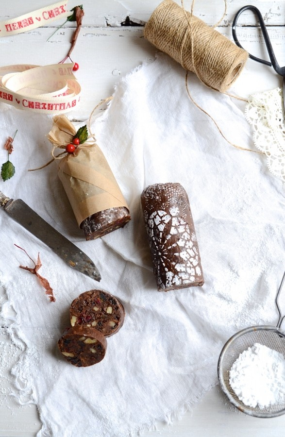 Rum and raisin chocolate salami | Edible Christmas gift recipes