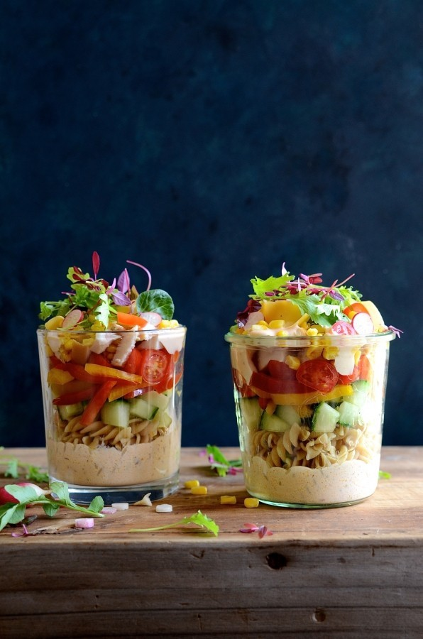 Smoked chicken pasta salad with chipotle dressing