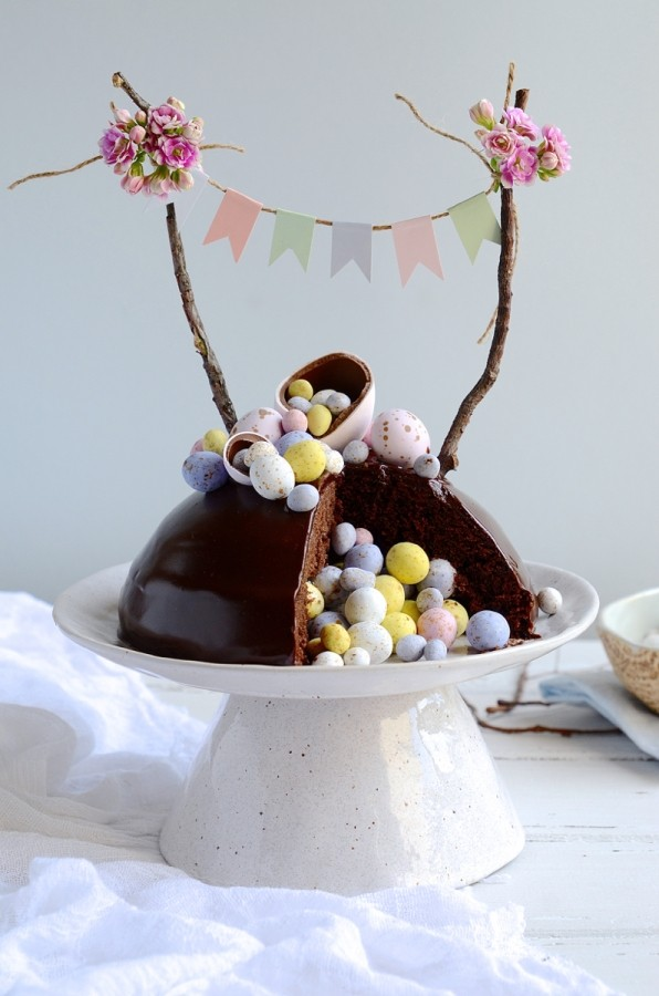 Chocolate Easter Egg Surprise Cake Bibbyskitchen Easter Baking Recipes
