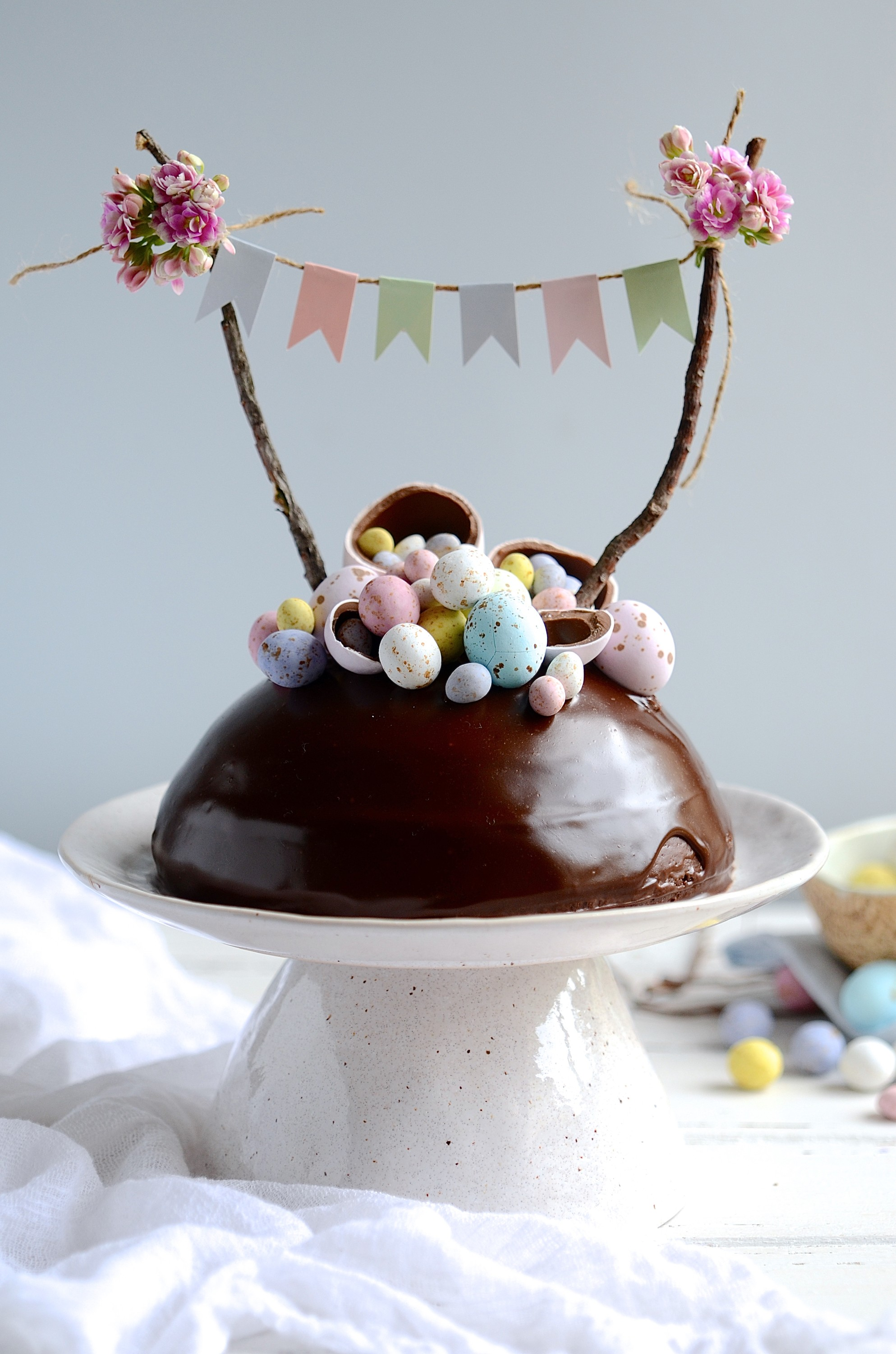 Chocolate Easter egg surprise cake | Bibbyskitchen recipes | Easter baking