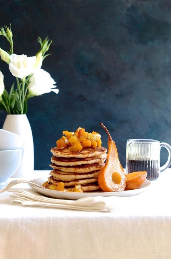 Wholemeal pancake stack