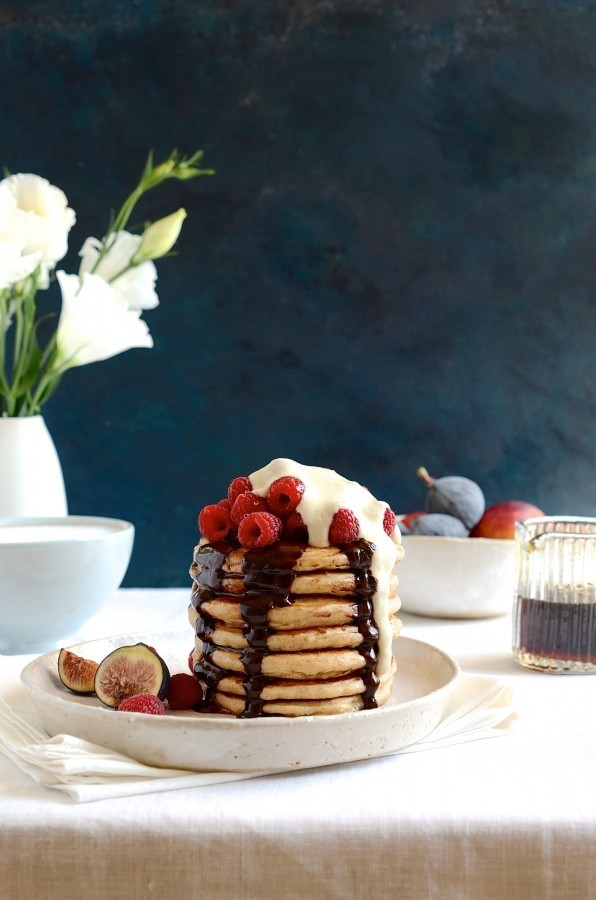 Wholemeal pancake stack with fruity ice cream whip | healthy breakfast recipes