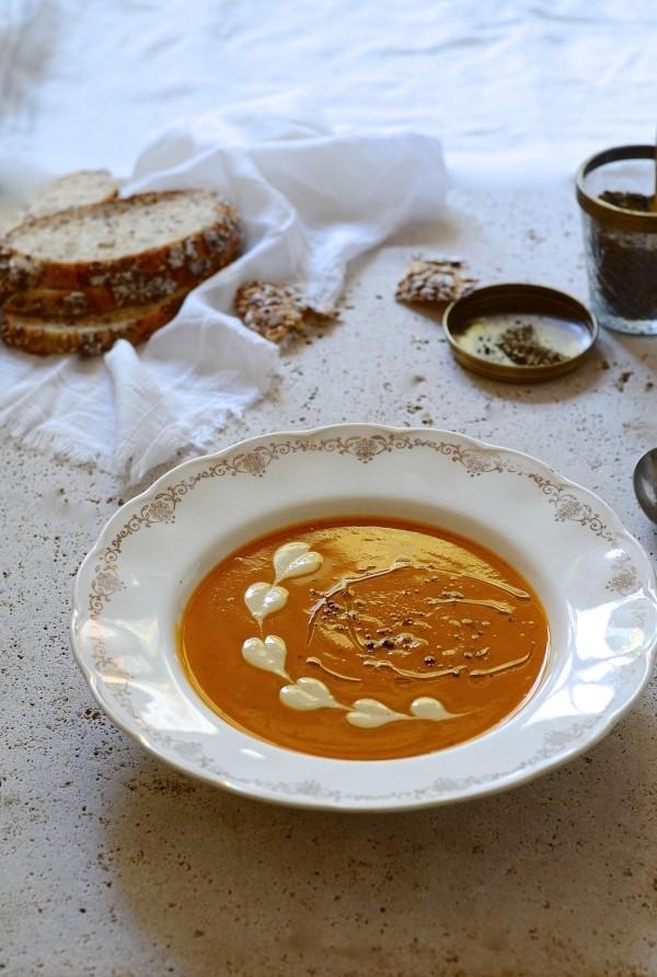 'Leftovers' roast vegetable harissa soup
