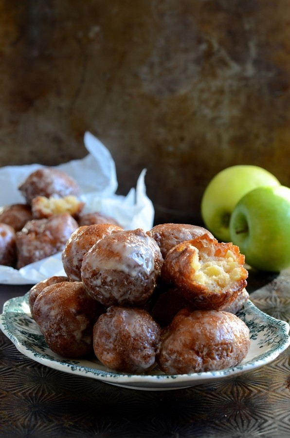 Double glazed apple fritter donuts