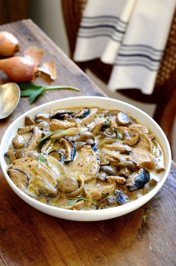 ... pork tenderloin with mushrooms, caramelised shallots and a creamy sage