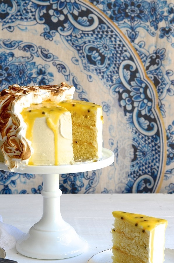 Gin and coconut granadilla curd cake