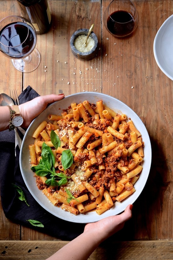 Red wine ragu with rigatoni | Best Bolognese pasta recipe