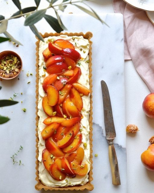Nectarine tart with thyme honey
