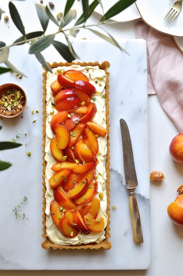 Nectarine tart with thyme and honey butter drizzle