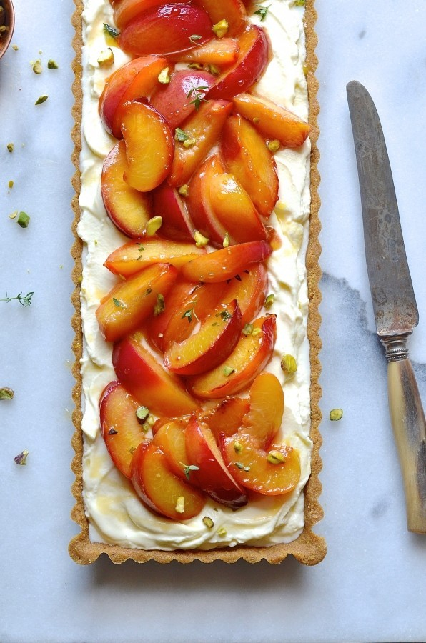 Nectarine tart with thyme and honey butter drizzle | Easy summer desserts