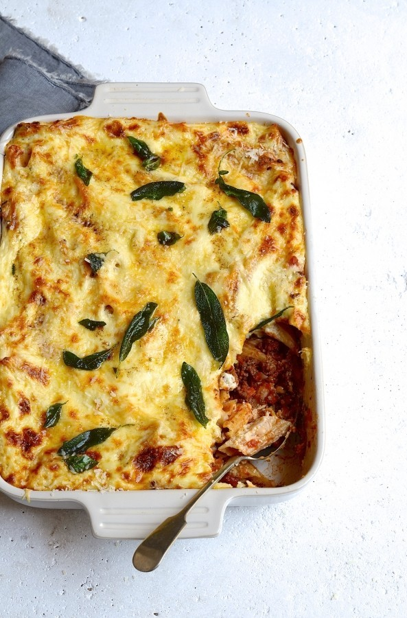 Pastitsio with basil and sage butter