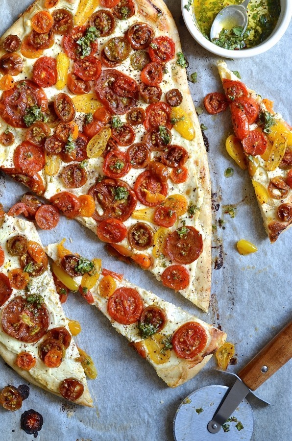 Ricotta and tomato flatbread with sumac and herb oil | Vegetarian recipes