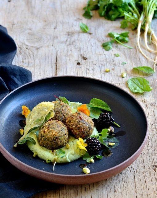 Spinach and quinoa falafel