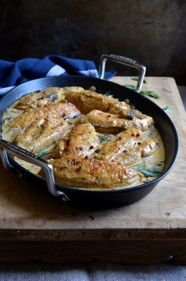 Tarragon cream chicken with pink peppercorns