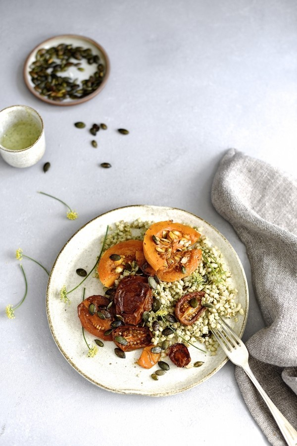 Barley salad with sumac roast butternut | Bibbyskitchen Vegan salad recipe