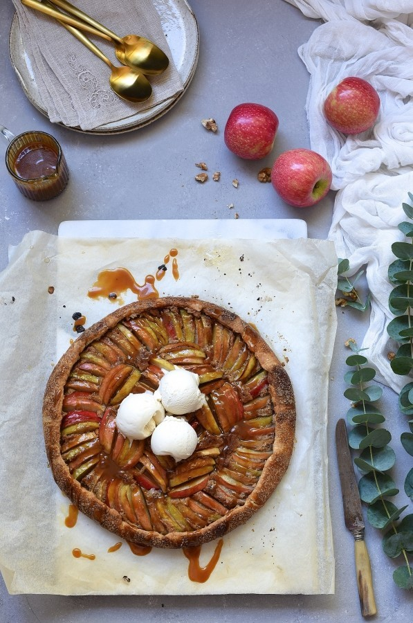 Apple galette with walnut frangipane