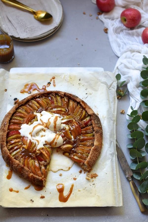 Apple galette with walnut frangipane