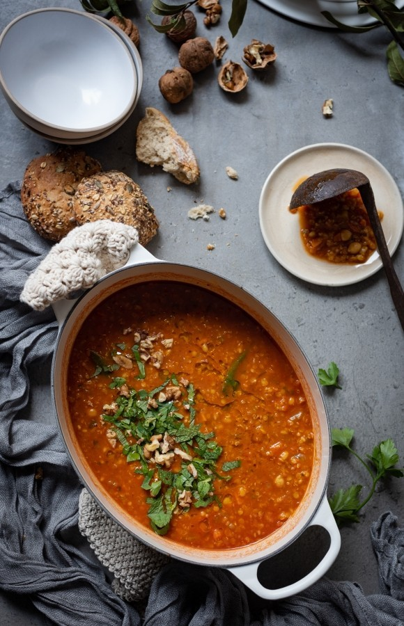 Harira Vegetable soup with barley and quinoa