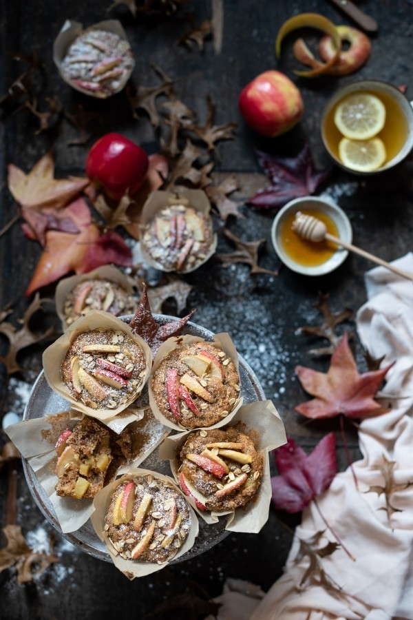 Green tea apple muffins