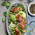 Wild rice chicken salad with avocado