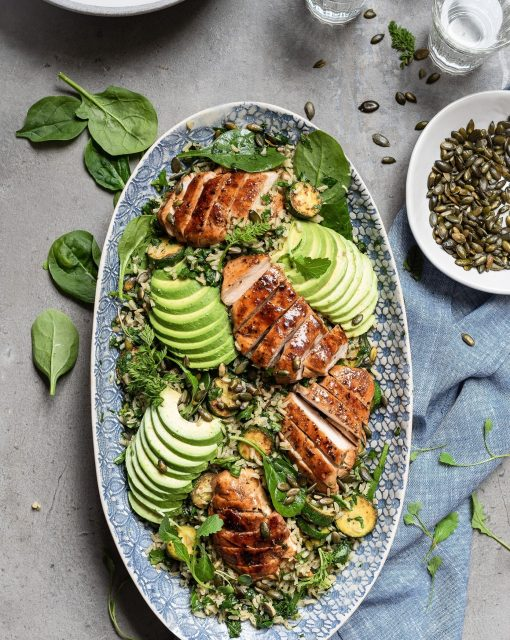 Wild rice chicken salad with avocado