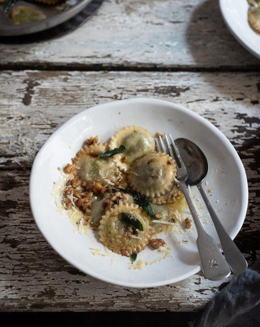 Ten minute walnut and sage ravioli