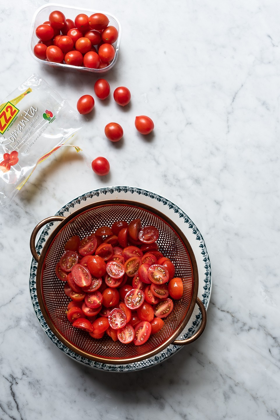 Tomato galette with ricotta and basil oil