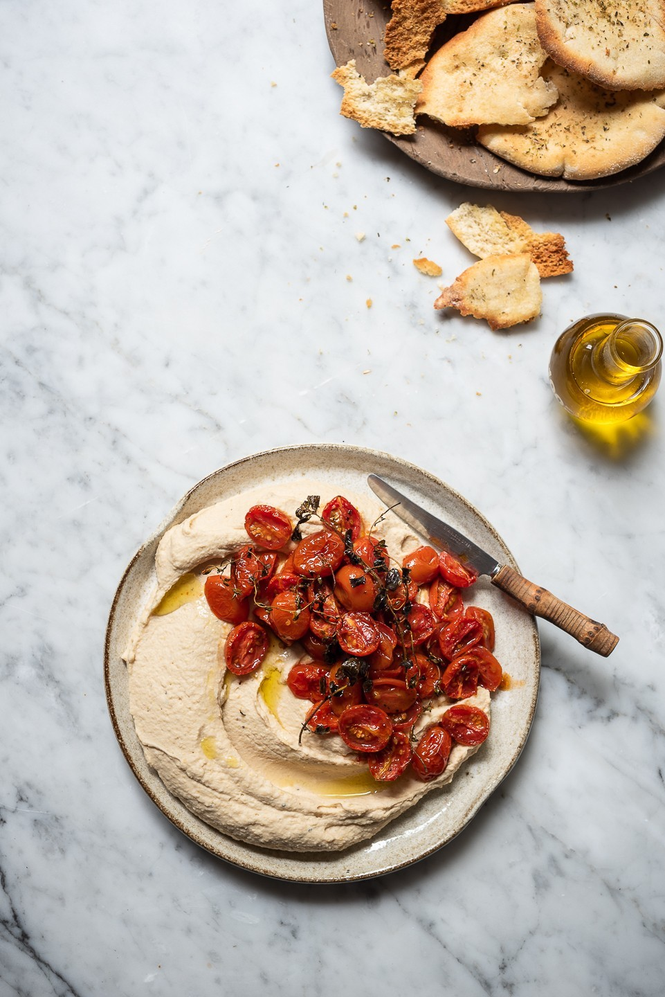 White bean hummus with candied tomatoes