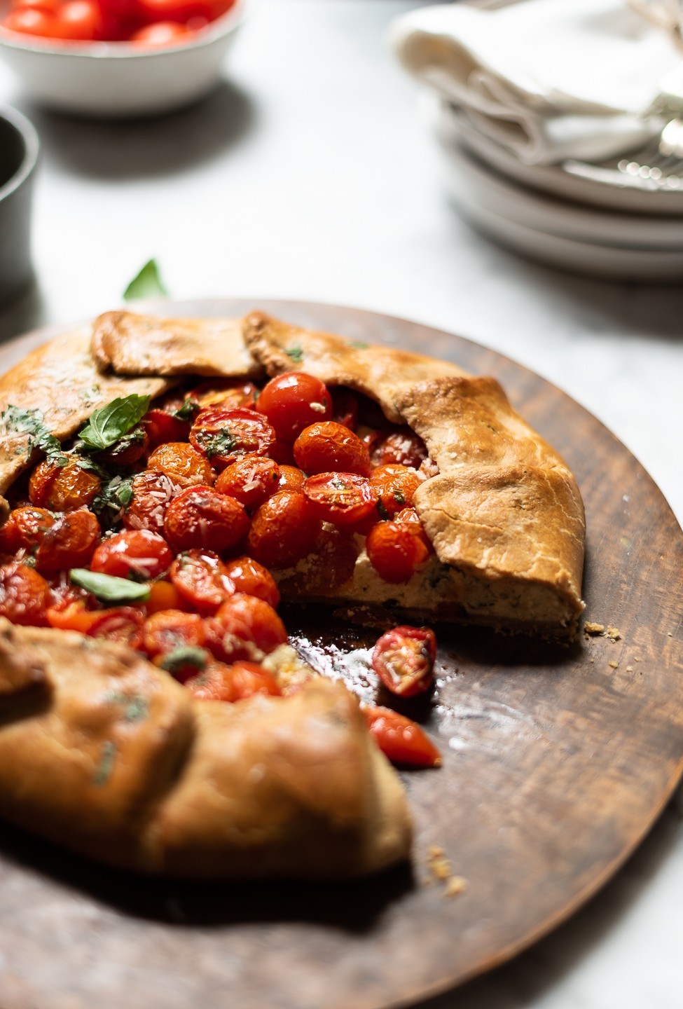 Tomato galette with ricotta and basil oil | Bibbyskitchen recipes