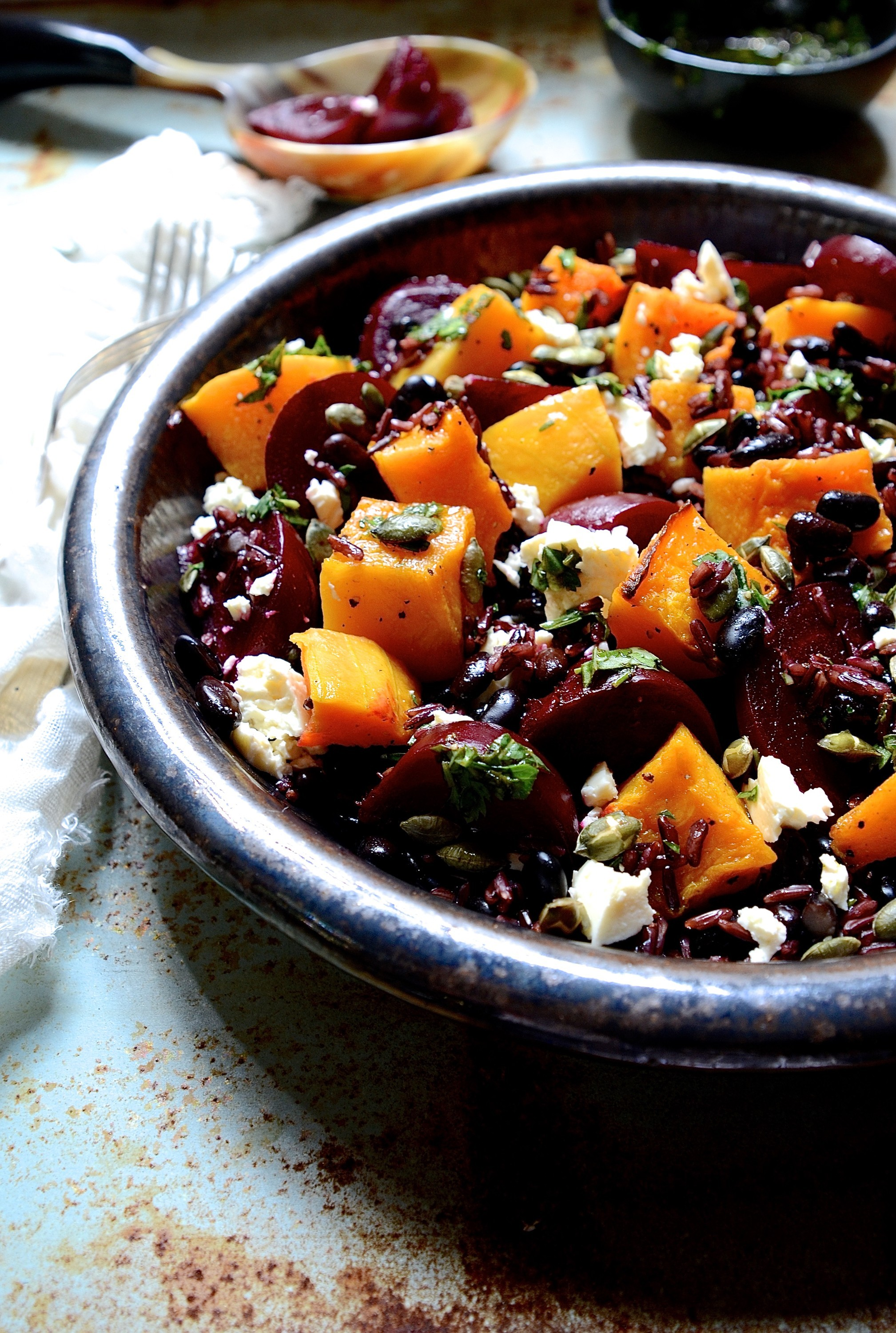 Black rice salad with balsamic beets