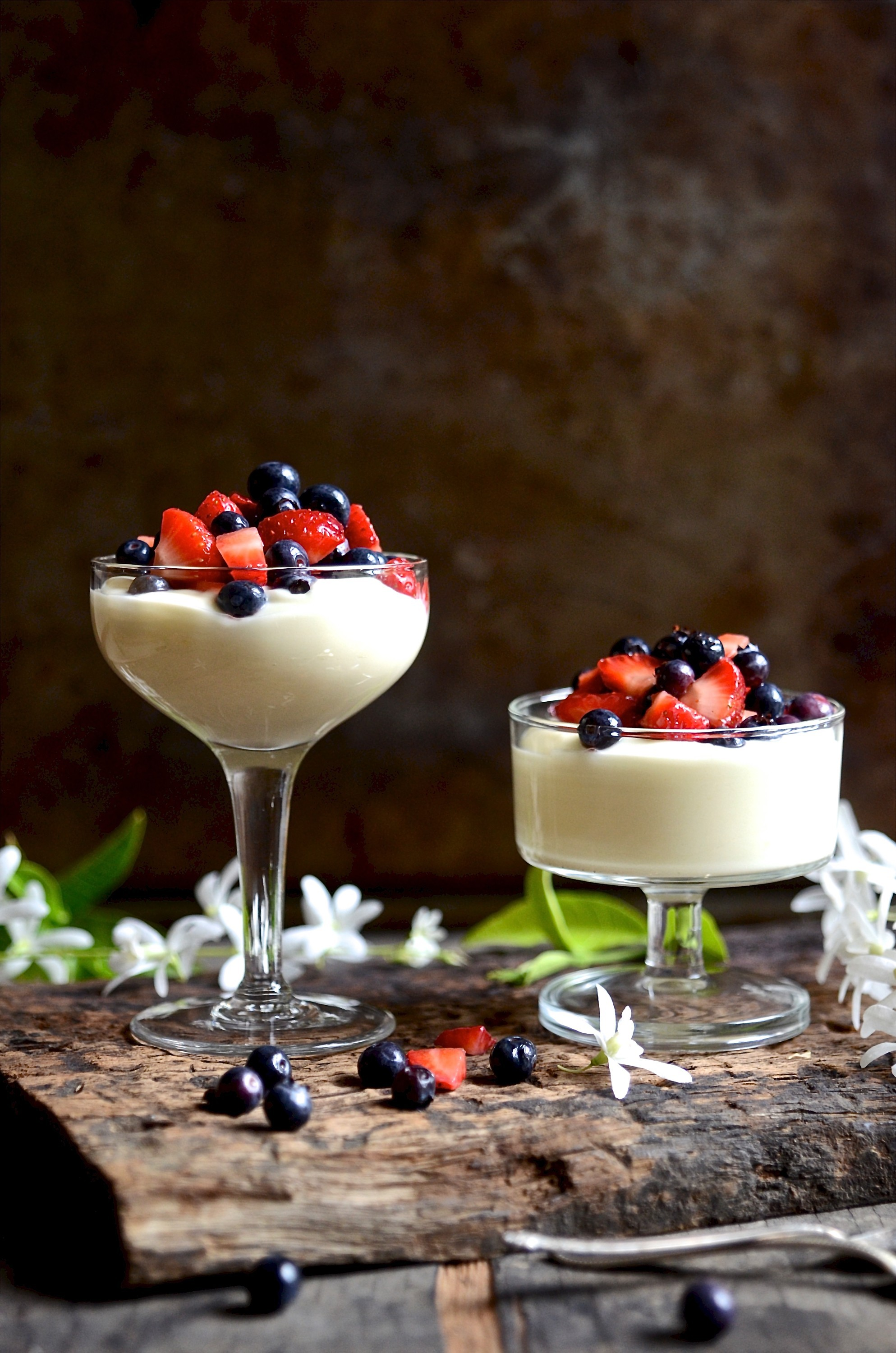 Lemon curd yoghurt creams with syrupy summer berries | Bibbyskitchen