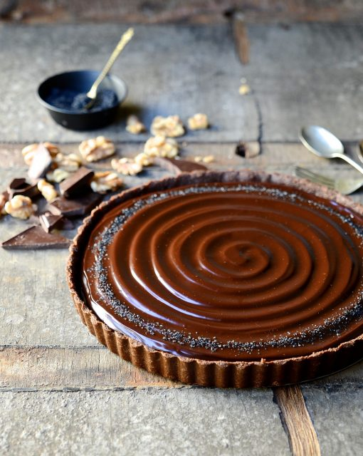 No bake caramel walnut tart