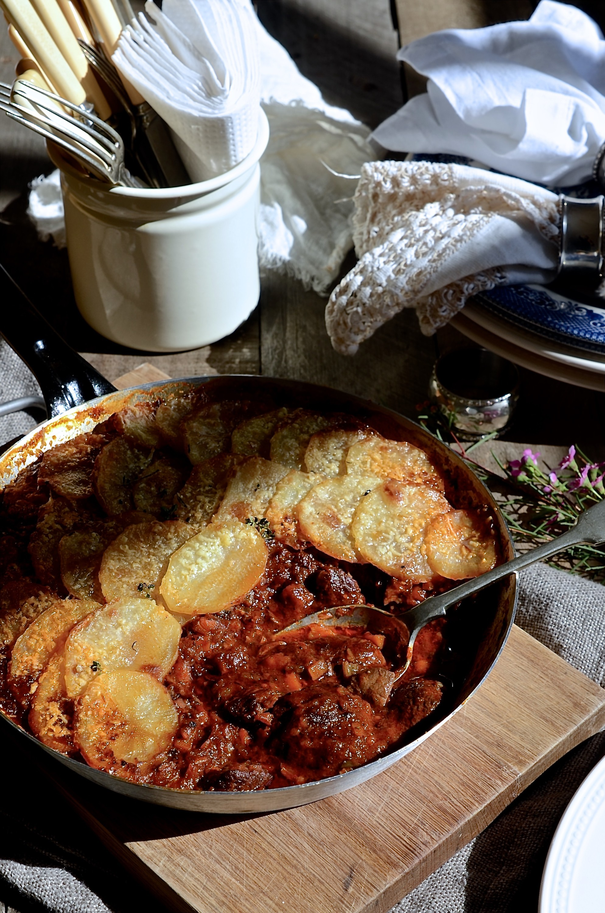 Red wine beef stew with potato gratin | Bibbyskitchen recipes